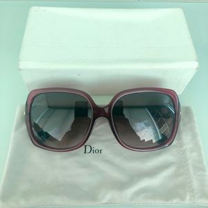 Dior Magenta and Dark Brown Rectangular Sunglasses